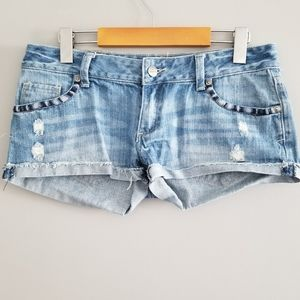 Campus Crew embroidered jean shorts